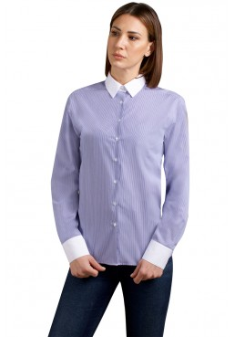 Kate shirt, in pure striped cotton with white collar and cuffs. Ingram Woman